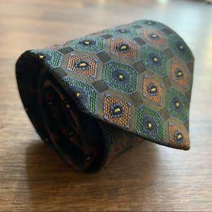 Versace Green & Orange Geometric Pattern Silk Tie